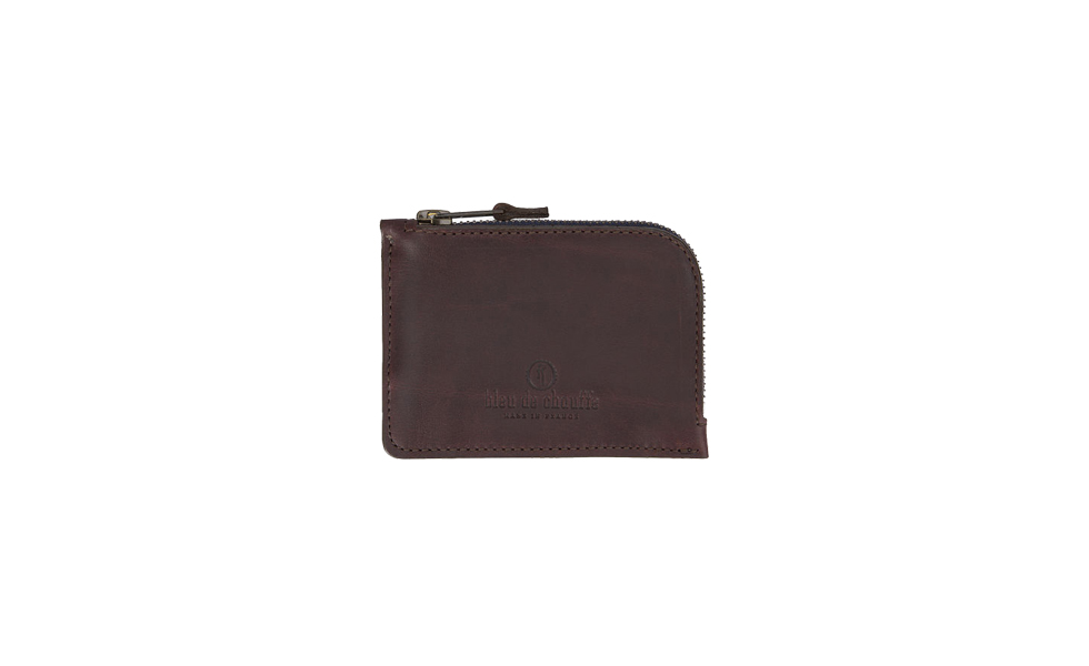 Bleu de Chauffe Burgundy AS Leather Zipped Coin Purse